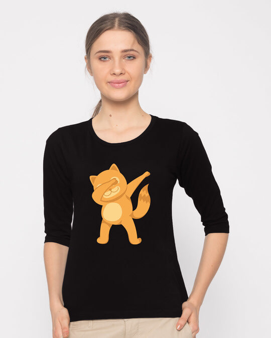 Shop Dabbing Catty Round Neck 3/4th Sleeve T-Shirt-Front