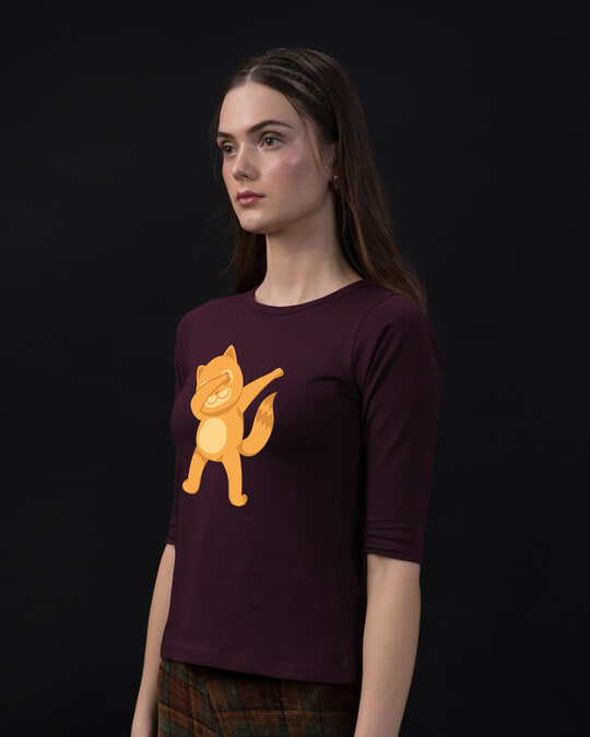 Shop Dabbing Catty Round Neck 3/4th Sleeve T-Shirt-Back