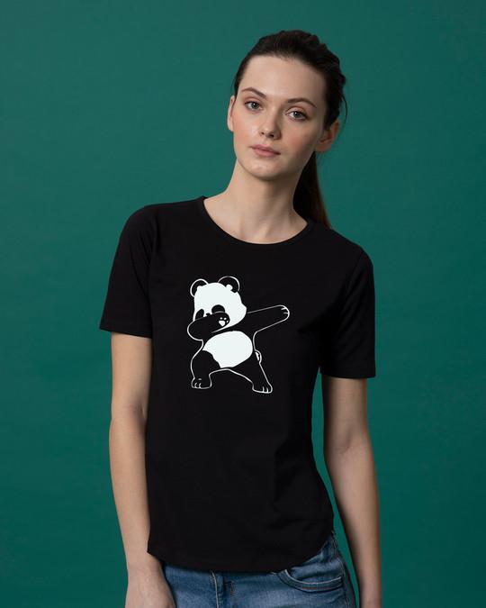 Shop Dabbing Panda Basic Round Hem T-Shirt-Front