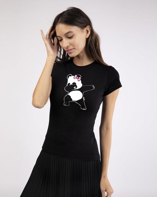 Shop Dabbing Panda Bow Half Sleeve T-Shirt-Design