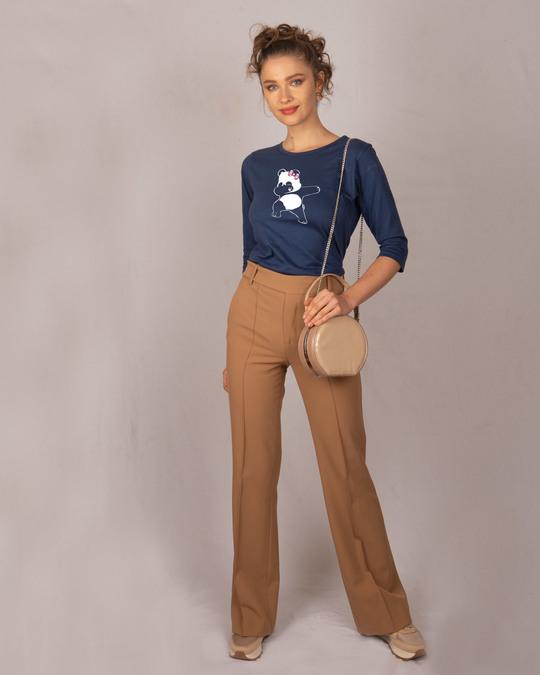 Shop Dabbing Panda Bow Round Neck 3/4th Sleeve T-Shirt-Design