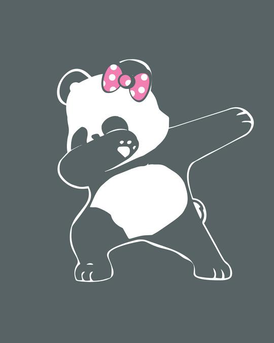 Shop Dabbing Panda Bow Round Neck 3/4th Sleeve T-Shirt-Full