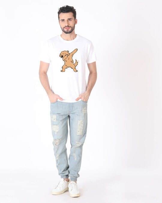 Shop Dabbing Retriever Half Sleeve T-Shirt