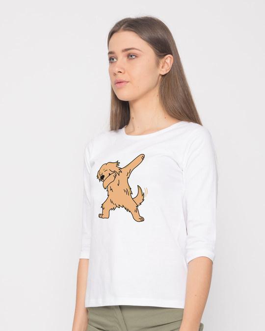 Shop Dabbing Retriever Round Neck 3/4th Sleeve T-Shirt-Back