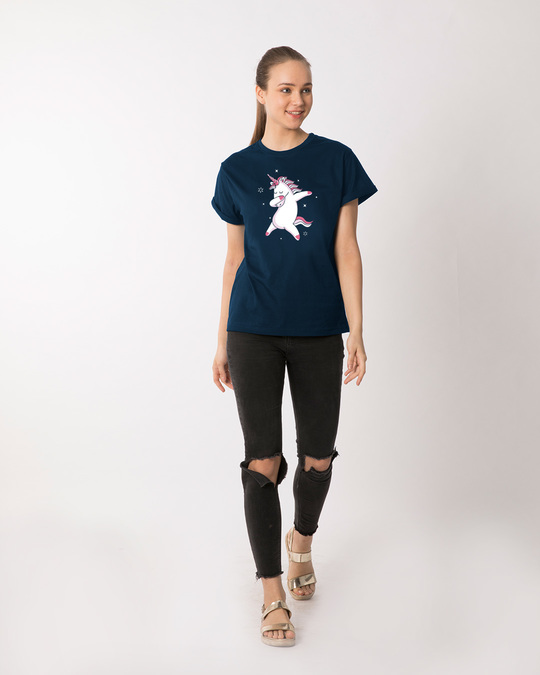 Shop Dabbing Unicorn Boyfriend T-Shirt