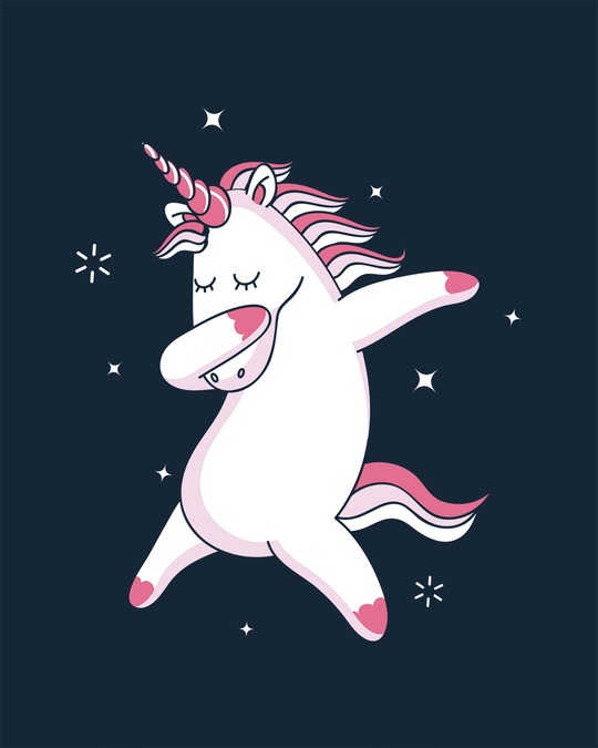 Shop Dabbing Unicorn Round Neck 3/4th Sleeve T-Shirt