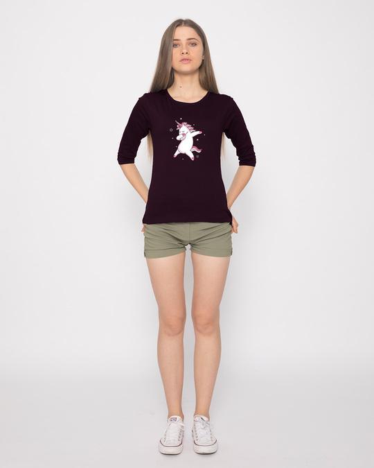 Shop Dabbing Unicorn Round Neck 3/4th Sleeve T-Shirt-Full