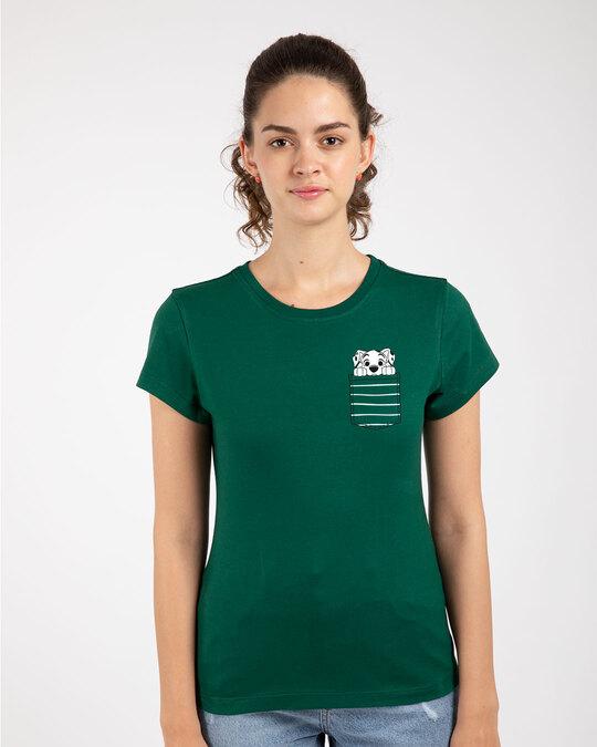 Shop Dalmatian Pocket Half Sleeve Printed T-Shirt Dark Forest Green (DL)-Front