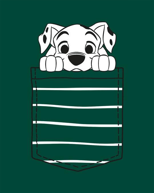 Shop Dalmatian Pocket Half Sleeve Printed T-Shirt Dark Forest Green (DL)-Full