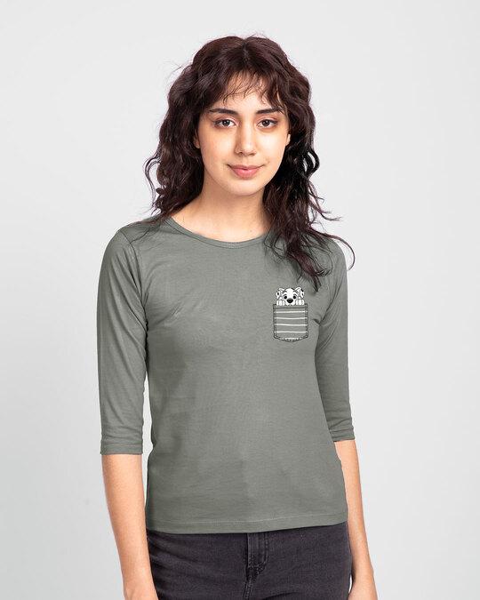Shop Dalmatian Pocket Round Neck 3/4 Sleeve T-Shirts Meteor Grey (DL)-Front