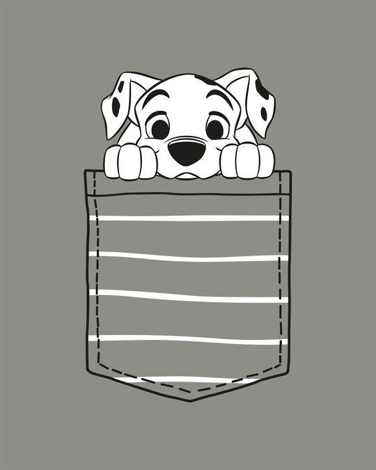 Shop Dalmatian Pocket Round Neck 3/4 Sleeve T-Shirts Meteor Grey (DL)-Full
