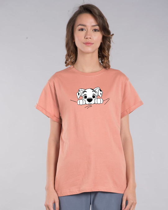 Shop Dalmatian Puppy Boyfriend T-Shirt (DL)-Back