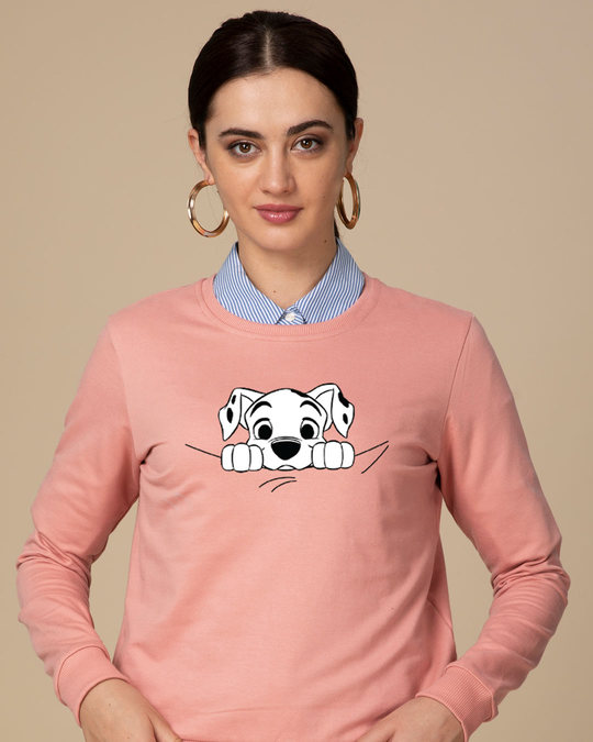 Shop Dalmatian Puppy Fleece Light Sweatshirt (DL)-Front