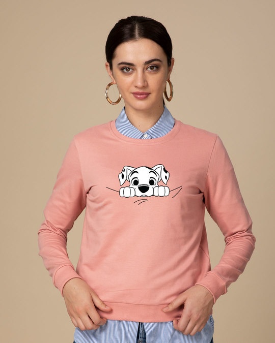 Shop Dalmatian Puppy Fleece Light Sweatshirt (DL)-Back