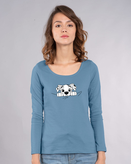 Shop Dalmatian Puppy Scoop Neck Full Sleeve T-Shirt (DL)-Back