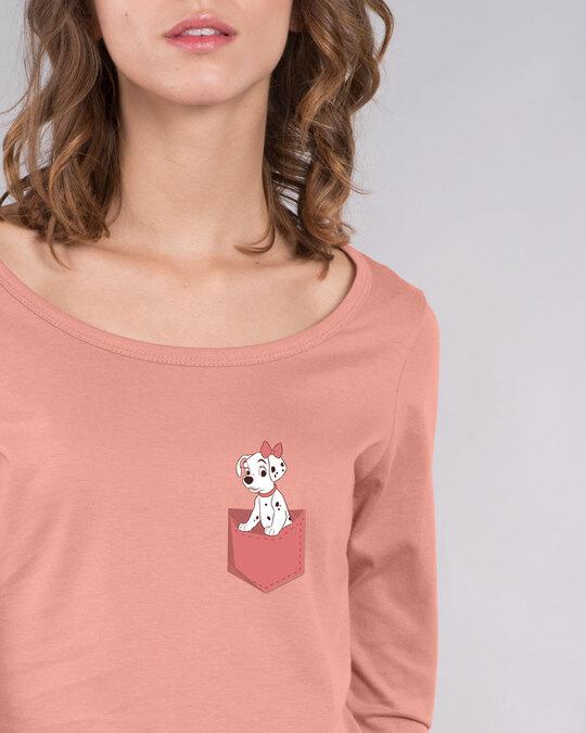 Shop Dalmation Pocket Scoop Neck Full Sleeve T-Shirt (DL)-Front