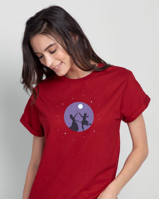 Shop Dandiya Night Boyfriend T-Shirt Bold Red-Front