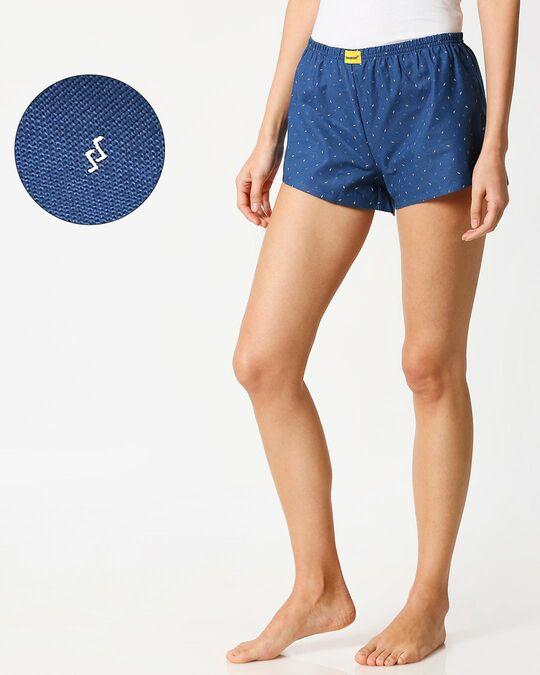 Shop Dark Blue AOP Women's Boxers-Front