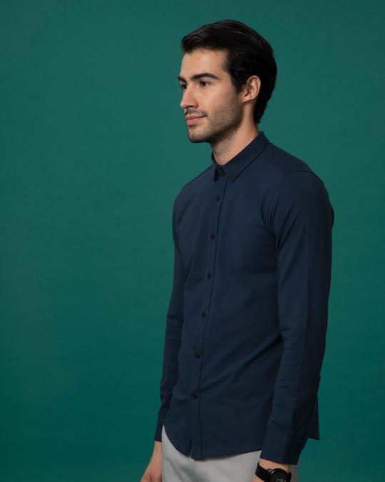 Shop Dark Blue Slim Fit Stretchable Knitted Shirt-Back