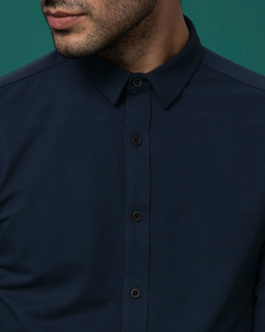 Shop Dark Blue Slim Fit Stretchable Knitted Shirt
