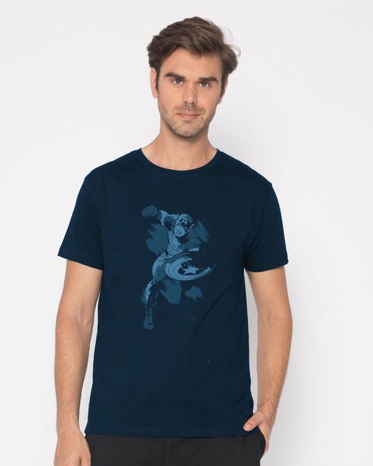 Shop Dark Captain America Half Sleeve T-Shirt (AVL)-Back