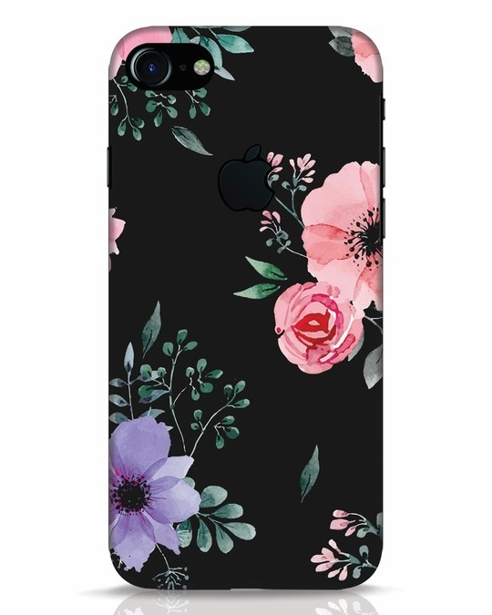 Shop Dark Florals iPhone 7 Logo Cut Mobile Cover-Front