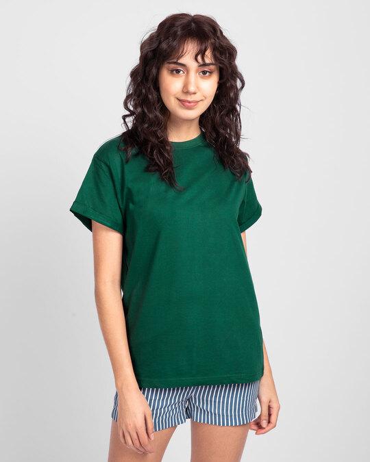 Shop Dark Forest Green  Boyfriend T-Shirt-Front