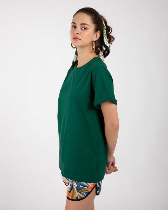 Shop Dark Forest Green Boyfriend T-Shirt-Full