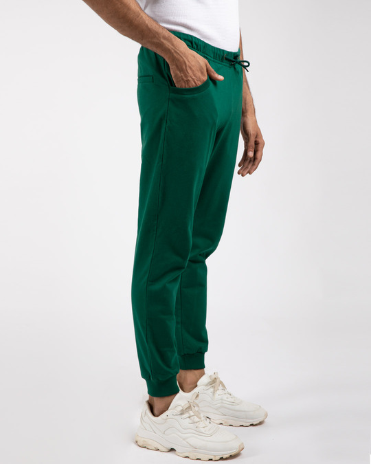 Shop Dark Forest Green Casual Jogger Pants-Back