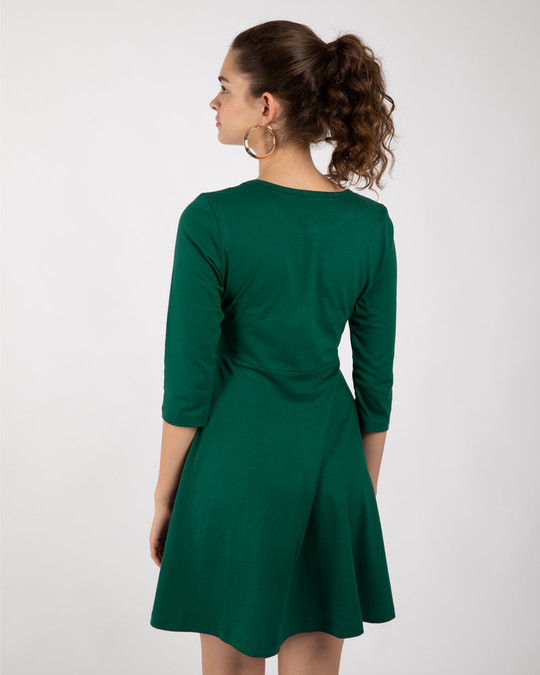 Shop Dark Forest Green Flared Dress-Design
