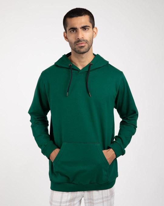 Shop Dark Forest Green Fleece Hoodies-Back