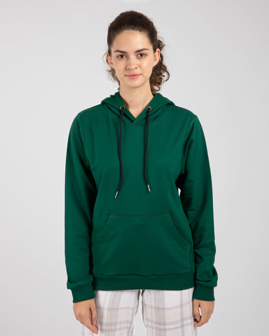 Shop Dark Forest Green Fleece Hoodies-Back