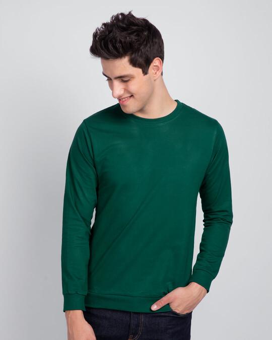 Shop Dark Forest Green Fleece Light Sweatshirt-Front