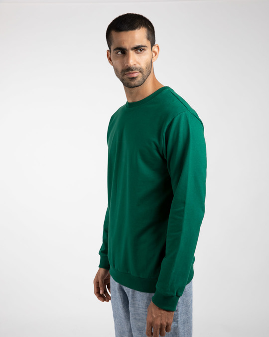 Shop Dark Forest Green Fleece Sweater-Design