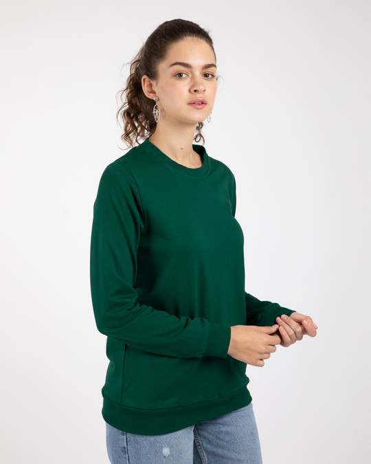 Shop Dark Forest Green Fleece Light Sweatshirt-Back