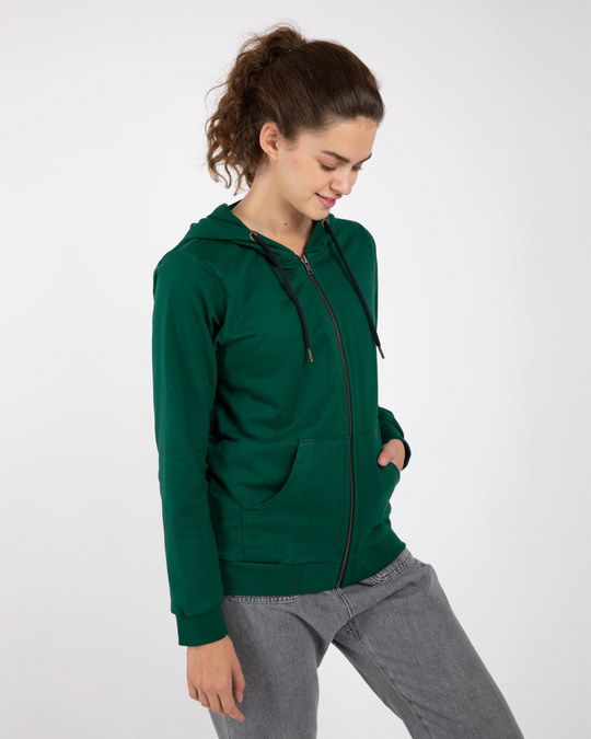 Shop Dark Forest Green Fleece Zipper Hoodies-Back