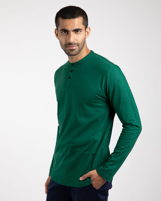 Shop Dark Forest Green Full Sleeve Henley T-Shirt-Back