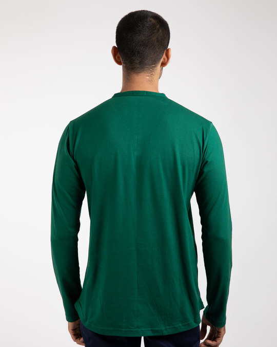 Shop Dark Forest Green Full Sleeve Henley T-Shirt-Design