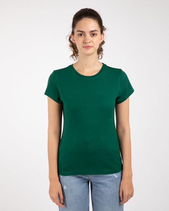 Shop Dark Forest Green Half Sleeve T-shirt-Back