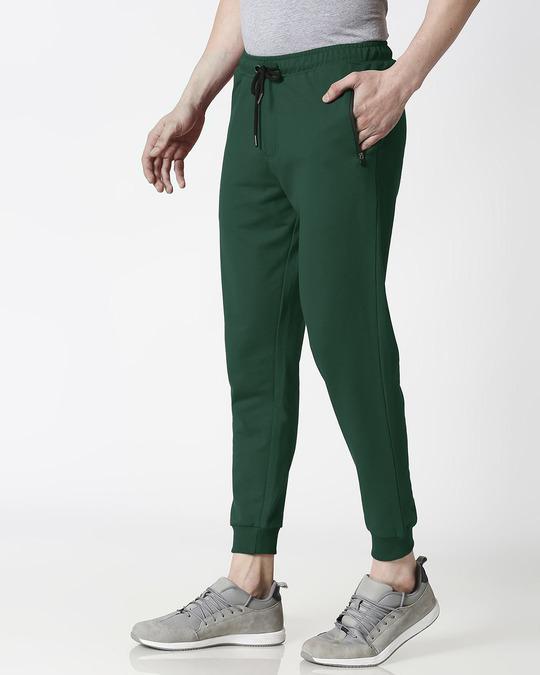 Shop Dark Forest Green Zipper Jogger-Design