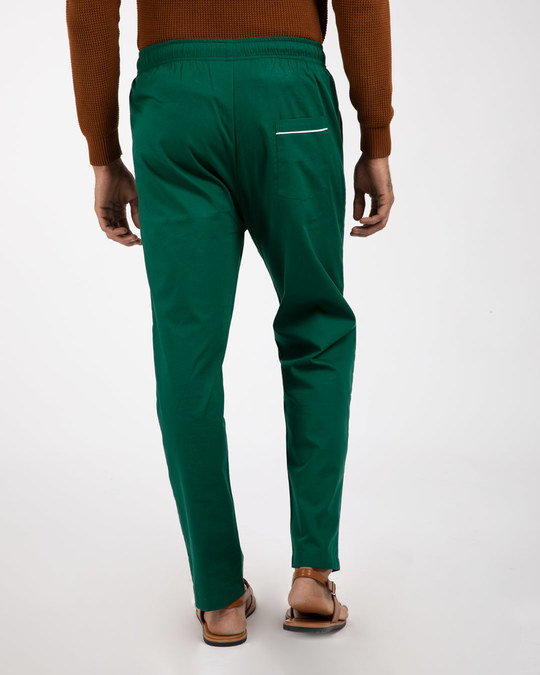 Shop Dark Forest Green Plain Pyjama-Back