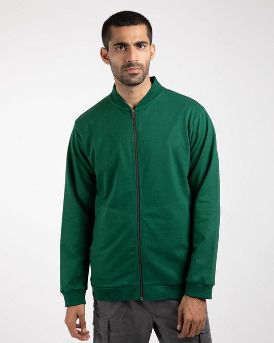 Shop Dark Forest Green Plain Zipper Bomber Jacket-Back