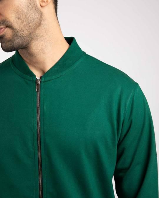 Shop Dark Forest Green Plain Zipper Bomber Jacket-Full