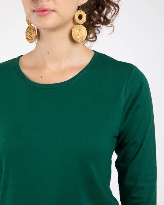 Shop Dark Forest Green Round Neck 3/4th Sleeve T-Shirt