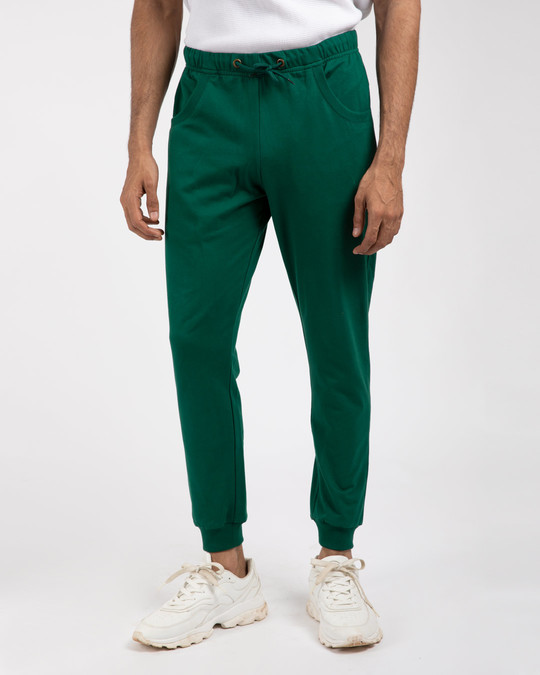 Shop Dark Forest Green Round Pocket Joggers-Front