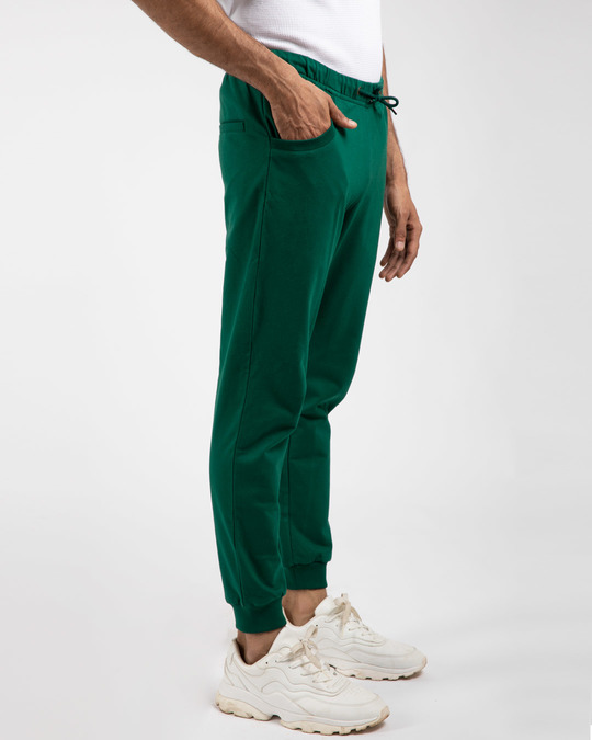 Shop Dark Forest Green Round Pocket Jogger-Back