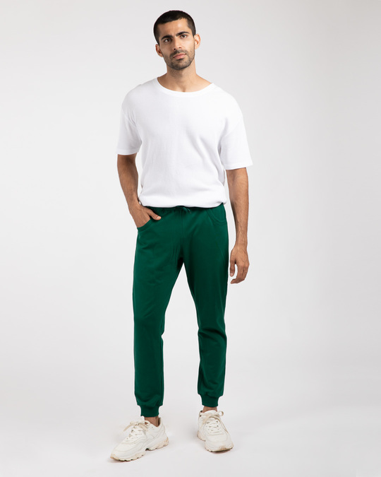 Shop Dark Forest Green Round Pocket Joggers