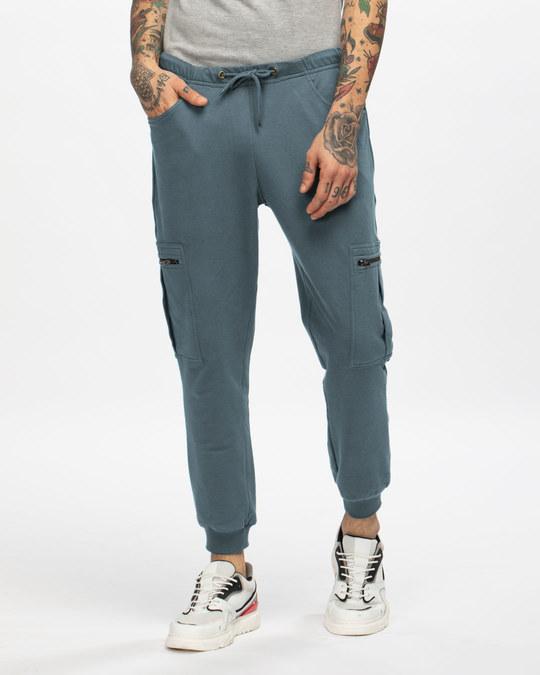 Shop Dark Grey Cargo Joggers-Front
