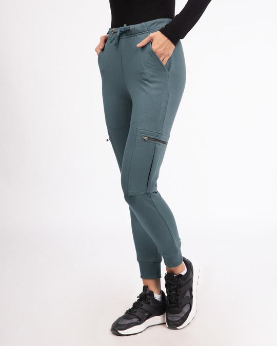 Shop Dark Grey Cargo Zipper Joggers Pants-Back