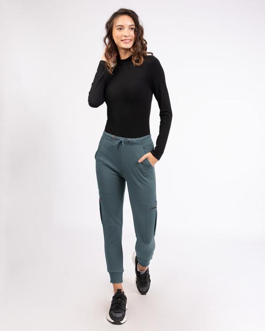 Shop Dark Grey Cargo Zipper Joggers Pants-Full